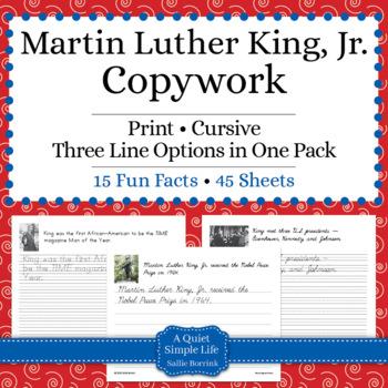 Martin Luther King, Jr. Unit - Copywork - Cursive - Handwriting