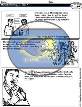 Martin Luther King, Jr. Visual Worksheet for Upper Elementary/Middle School