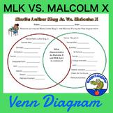 Martin Luther King Jr.  Vs. Malcolm X Venn Diagram
