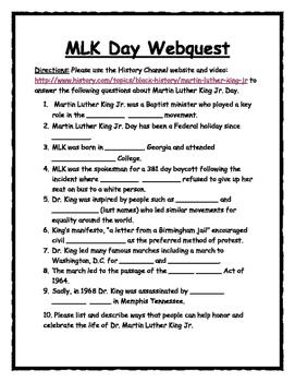 Martin Luther King Webquest