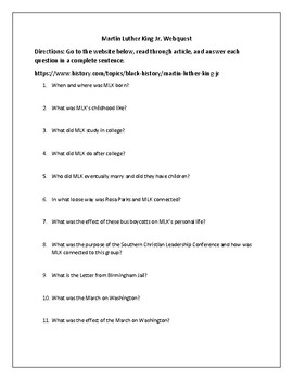 Martin Luther King Jr. Webquest (With Answer Key!)