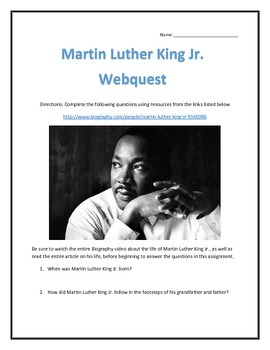 Martin Luther King Jr. - Biography and Video Analysis Web Assignment with Key