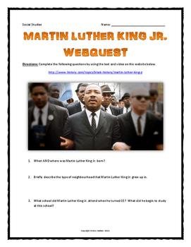 Martin Luther King Jr. - Webquest with Key (History.com) NO PREP