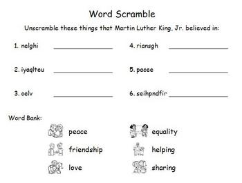 Martin Luther King, Jr. Word Puzzles
