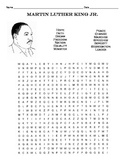 Martin Luther King, Jr. Word Search Puzzle / 3rd Grade