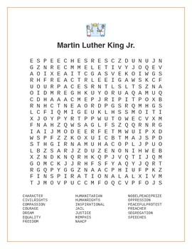 photo regarding Martin Luther King Word Search Printable referred to as Martin Luther King Jr. Wordsearch