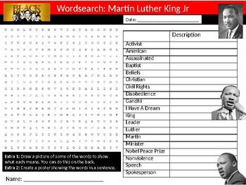 Martin Luther King Jr Wordsearch Black History Month Keywords Settler Homework