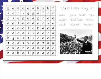 Martin Luther King, Jr. Wordsearch for the Smart Board