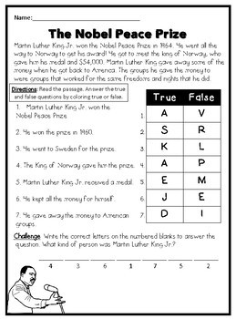 Martin Luther King Jr Worksheets By Little Mrs Bell Tpt