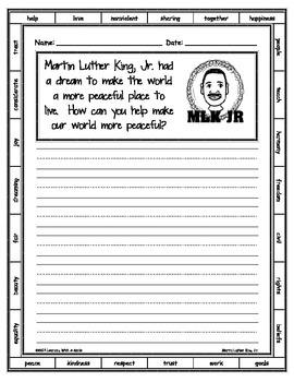 Martin Luther King, Jr. ~ Writing Activity ~ FREEBIE ~ Includes Word Bank