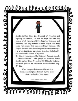 Martin Luther King, Jr. Writing Activity (Freebie)