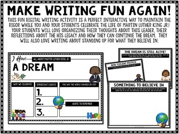 Martin Luther King Jr. Writing Activity a Google Classroom Activity