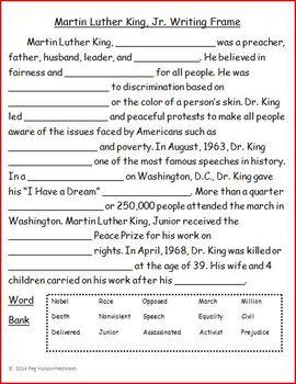 Martin Luther King, Jr. Wri... by Peg Hutson | Teachers Pay Teachers