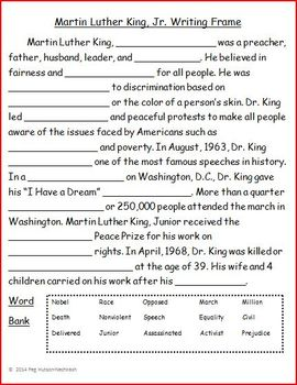 Martin Luther King, Jr. Writing Frame Freebie by Peg Hutson | TpT
