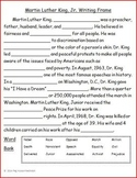 Martin Luther King, Jr. Writing Frame Freebie