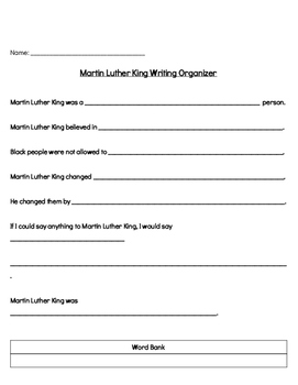Martin Luther King Jr. Writing Organizer with Differentiated Options