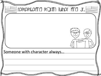 Martin Luther King Jr. Writing Template, Teaching Character