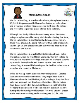 Martin Luther King, Jr. and Jackie Robinson Black History Month Activities