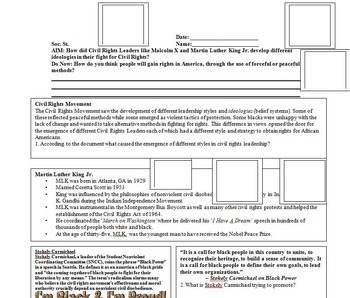 Martin Luther King Jr. and Malcolm X - PowerPoint, Worksheet, Writing Assignment