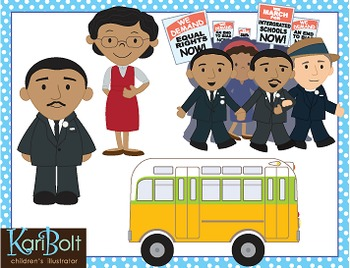 Martin Luther King Jr and Rosa Parks Clip Art