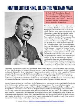 Martin Luther King, Jr. and the Vietnam War Speech Analysis