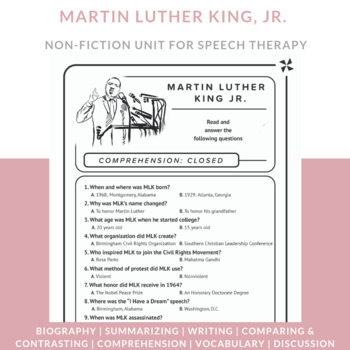Speech Therapy-MLK JR comprehension, sequencing, vocabulary, & reasoning