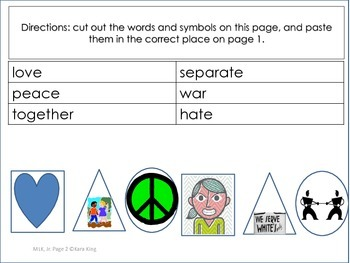Martin Luther King Jr. cut and paste activity