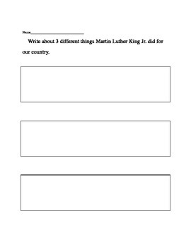 Martin Luther King Jr. writing activity