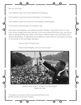 "Martin Luther King Jr.'s ""I Have A Dream"" Speech"