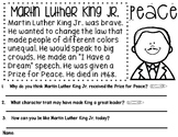 Martin Luther King Junior Reading Comprehension
