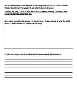 Martin Luther King Junior - Reading and Writing Worksheets