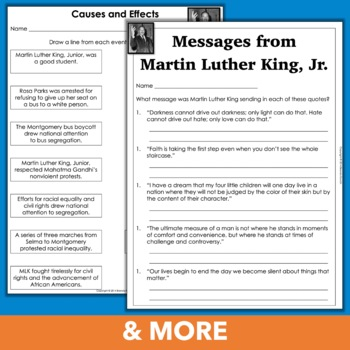 Martin Luther King, Junior Text, Timelines, Cause/Effect, Quotes, and More!