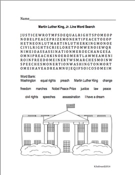 Free! Martin Luther King, Jr. Line Word Search!  Printables!