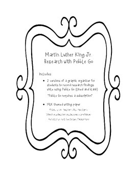 Martin Luther King MLK Research PebbleGo Graphic Organizer