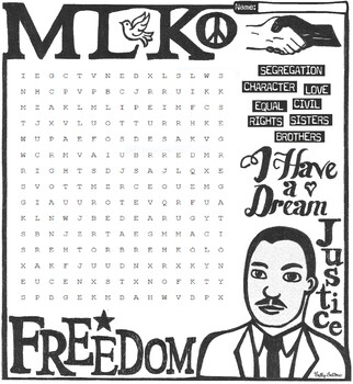Martin Luther King MLK Word Search
