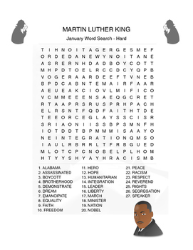 MARTIN LUTHER KING Word Search - Martin Luther King Day - 3 levels