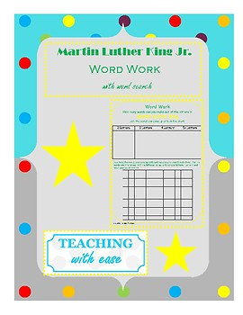 Martin Luther King: Making Words and Word Search Extension Activity