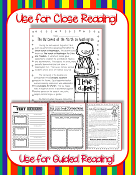 Martin Luther King: March on Washington Close Reading Passages & Response Pack