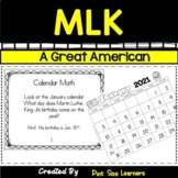 Martin Luther King Math and Literacy Activities Grades 1 to 3