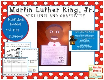 Martin Luther King Day Unit with Nonfiction Book and Craftivity-CCSS Aligned