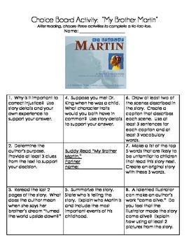 My Brother Martin Choice Board