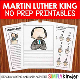 Martin Luther King Jr No Prep Printables for Kindergarten