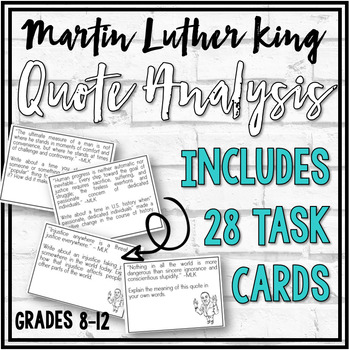 Martin Luther King Quote Analysis Task Cards