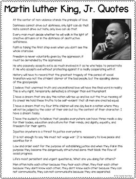Martin Luther King Quotes to Illustrate Freebie for 3rd - 6th Grade