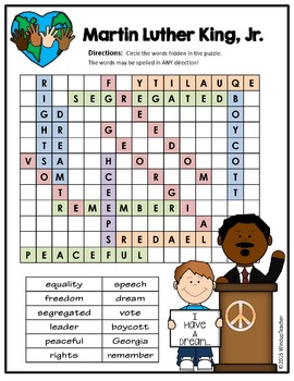Martin Luther King, Jr. Word Search *Hard