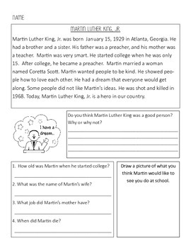 Martin Luther King Reading Comprehension