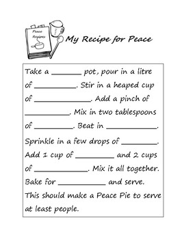 Martin Luther King - Recipe for Peace activity