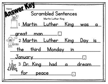 Martin Luther King - Scrambled Sentences