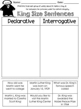 Martin Luther King Sentence Sort