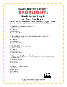 Martin Luther King Story With Effective Reading Comprehension Questions